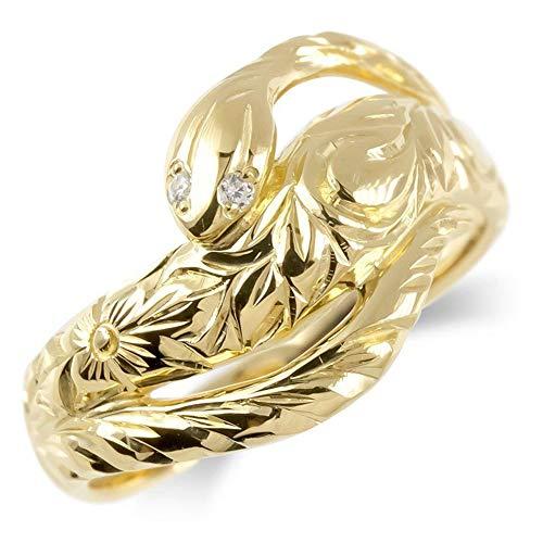 [アトラス] Atrus リング メンズ 10金 イエローゴールドk10 ダイヤモンド 蛇 ハワイアンジュエリー 指輪 幅広 ピンキーリング 15号