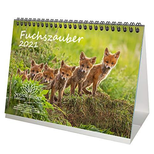 Fuchszauber DIN A5 Tischkalender für 2021 Fuchs und Füchse - Geschenkset Inhalt: 1x Kalender, 1x Weihnachtskarte (insgesamt 2 Teile)
