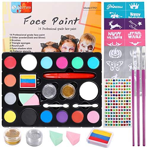 Kinderschminke Set, Face Paint Set, Schminkfarbe Kit für Kinder, Körperfarben mit 14 Farben, Professionelle Gesichtsfarben Kinder, Wasserbasiert Schminke-Set für Kinder, 40 Schablonen 3 Bürsten.