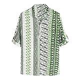 Camisas para Hombres, Camisa Informal para Hombres con Bloqueo de Color y Cuello Alto con patrón geométrico, Camisetas de Manga Corta Transpirables y Elegantes para Hombres
