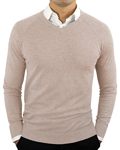 CC Perfect Slim Fit V Neck Sweaters for Men | Lightweight Breathable Mens Sweater | Soft Fitted V-Neck Pullover for Men Oatmeal