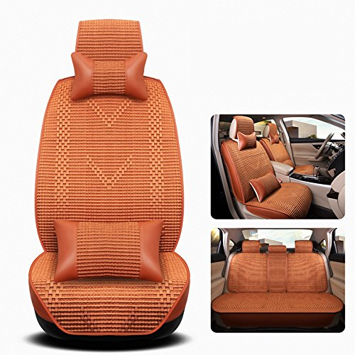 CYOUZHE Leather + Ice Silk Car Seat Cover Upscale Vier seizoenen Universele kussensloop, Vier kleuren Opties - Full Surround Design, Oranje