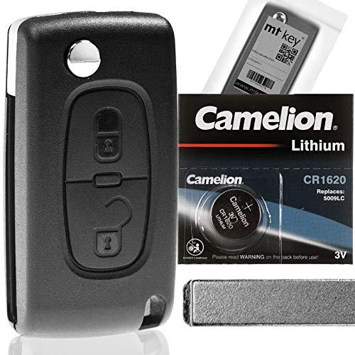 Klapp Schlüssel Gehäuse Funkschlüssel Fernbedienung Autoschlüssel Rohling + Batterie kompatibel mit Citroen/Peugeot/FIAT