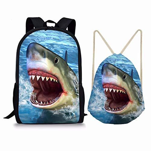 chaqlin Animal Cute Pug Bolsas de Escuela Suministros Gran Capacidad Hombro Mochilas con Cordón Plegable Pack 2 Piezas Set Bookbags