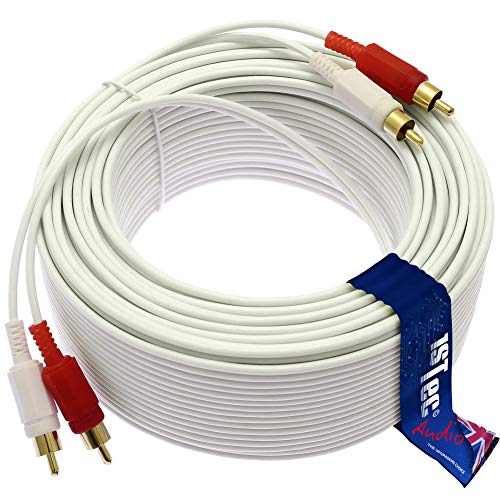 1STec 50m Stereo Audio Lead with 4 Gold Plated Red + White Phono Plugs to 2 Male RCA Connectors & Individually Screened 99% OFC Cable for Satellite TV-HiFi Amplifier Amp (50 Metre Long)