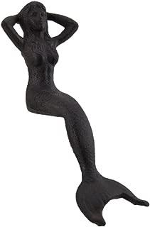Zeckos Rust Brown Cast Iron Lounging Mermaid Ledge Sitter Statue