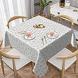 Paño de mesa cuadrado blanco de color gris claro celestial en blanco para mesa de centro de 54 x 54 pulgadas, utilizado para banquetes buffet cocina catering y fiestas