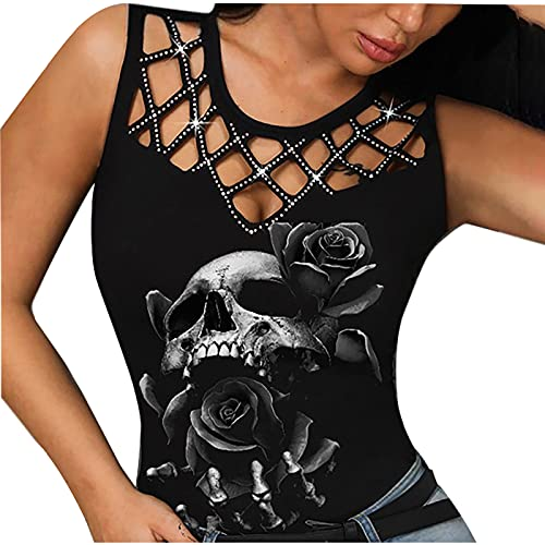 Sexy Tank Tops for Women, Summer Casual Trendy Skull Print T-Shirt Sliming Fit Sleeveless Crewneck Hollow Blouses Tops