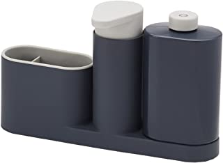 Joseph Joseph Sink Base Caddy Set with Soap Pump & Detergent Bottle, Grey