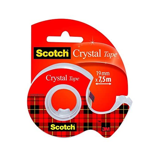 Scotch 3M Crystal Tape Nastro Adesivo, Trasparente, 19 mm x 7,5 m