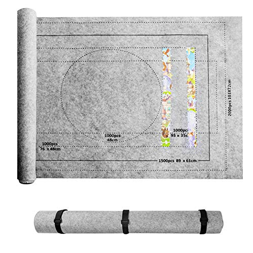 Alfombrilla De Rompecabezas De 80x118 Cm, Manta De Fieltro Enrollable Gris para hasta 2000 Piezas De Rompecabezas con Bolsa De Almacenamiento Portátil Conjunto De Accesorios