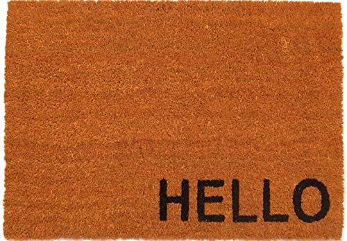 """oKu-Tex Fußmatte   Fußabtreter   Türmatte   Eingangsmatte   \""""Raja\""""  Hello   Aufdruck   Kokosmatte Kokos   für außen   rutschfest   40x60 cm"""