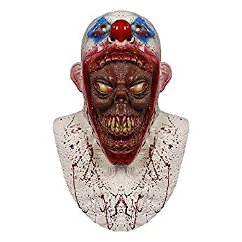 molezu Creepy Scary Clown Mask Parasite Horror Coulrophobia Clown Head Mask Halloween Costume Party Rubber