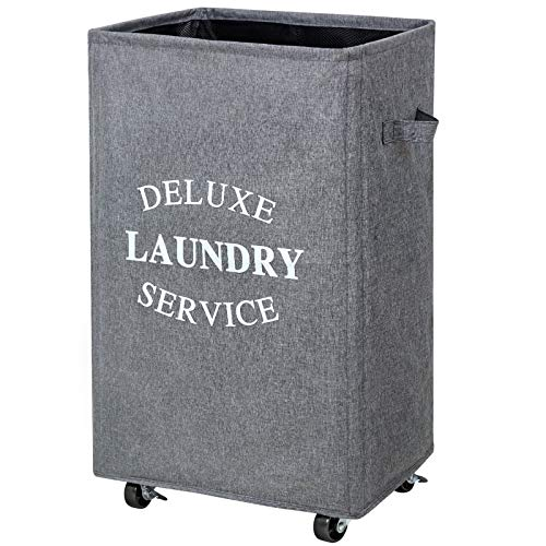 Chrislley 90L Large Laundry Basket with Wheels Rolling Laundry Hampers for Laundry Collapsible Clothes Hamper Bag Square Laundry Cart Laundry Storage Basket Laundry Organizer (Upgrade Grey)