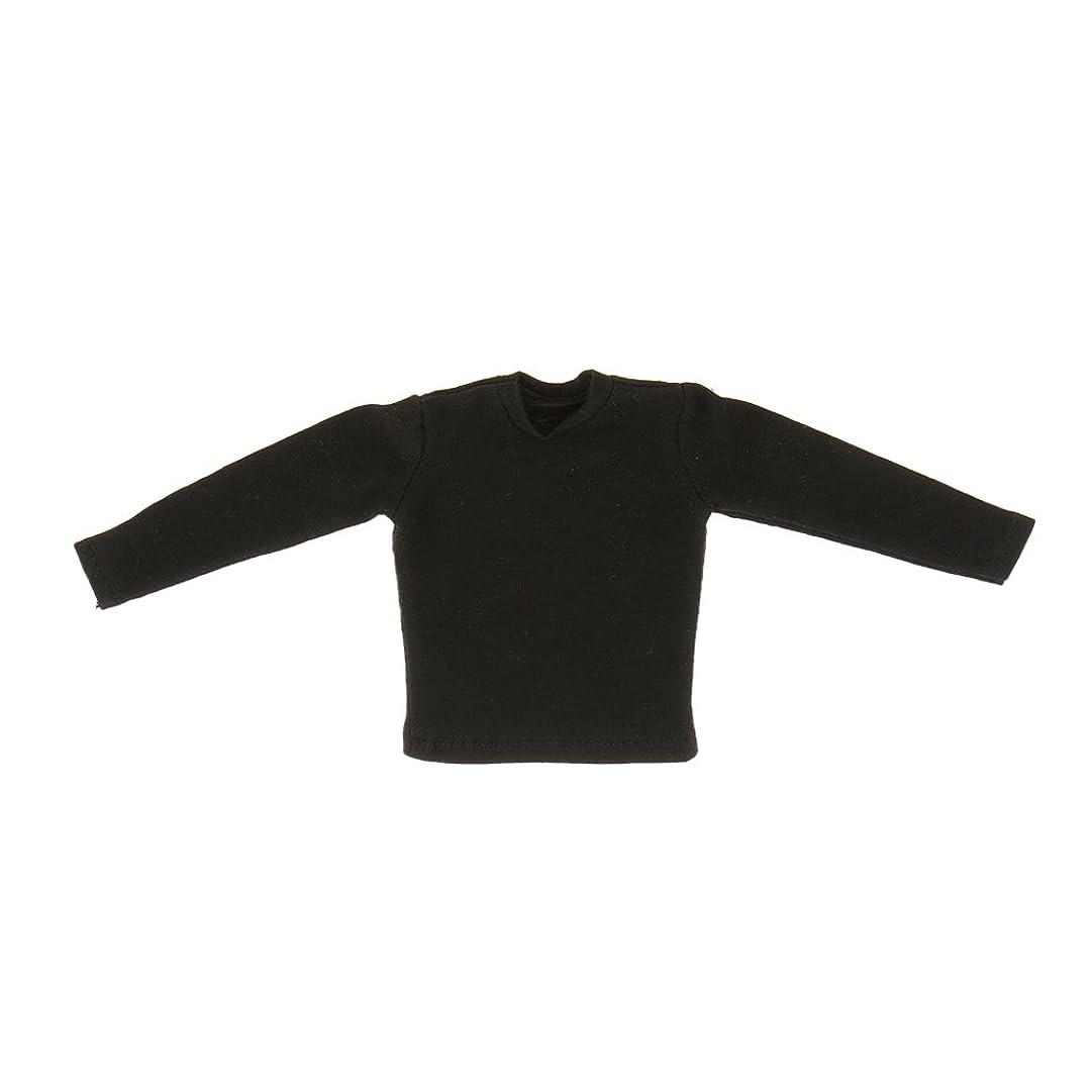 ピックスワップ石膏綿製 1/6 12インチ 長袖Tシャツ メンズ アクションフィギュア用 人形 ボディおもちゃ アクセサリー ギフト ブラック