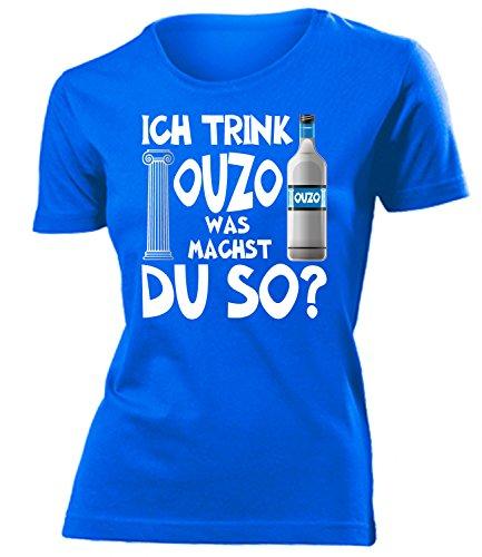 Ich Trink Ouzo was Machst du so 4923 Saufen Sauf Griechenland Geschenke Lustig Sprüche Geschenk Damen Frauen t Shirt Tshirt t-Shirt Griechen
