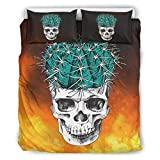 Nitian Skull Chic Design Bed Set Bettbezug Set Light Breathable Einzelbett ropa de cama para niños con Zip, poliéster, blanco, 168x229cm