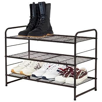 CAXXA Stackable and Expandable Shoe Rack 3 Shelves Metal Wire Utility Rack  Bronze
