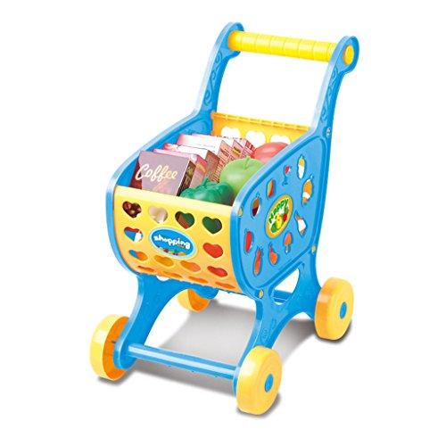Juguete de Carrito de Compra Plástico de Ensamblaje con Alimentos de imulación Juego de Imaginación para Bebés Niños - Azul