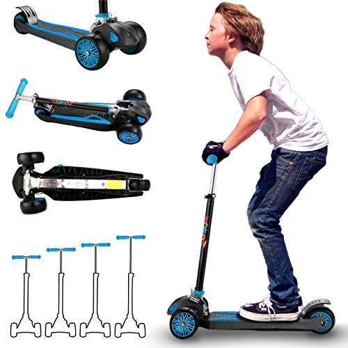 Scooter for Kids, Maxi Foldable Kick Scooter Deluxe, Handlebars adjustability from Age 5-12, Surface-Safety Balance Technology, 2  Width x 3 Wheels,