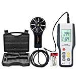 ERAY Digital Anemometer Wind Speed Gauge Air Velocity Flow Volume Meter with Backlight LCD Display, Suitcase and Battery Included