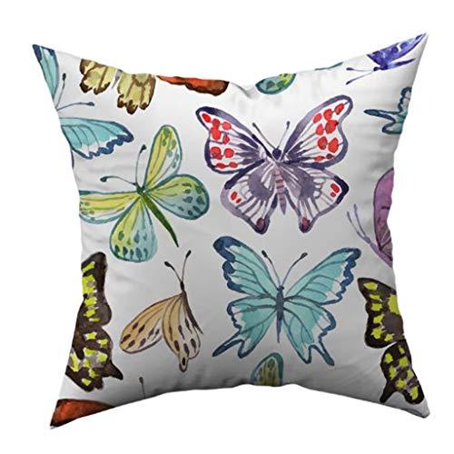 S-TROUBLE Funda de Almohada con Estampado de Mariposas, Funda de cojín de poliéster de Piel de melocotón Suave para el hogar, Coche, sofá, Arte, Suministros Decorativos