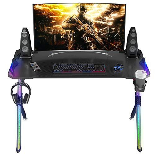 "ONTRY Gaming Desk 47"", Ergonomic PC Computer Desk with RGB Lighting, R-Shaped Gamer Table Workstation, Carbon Fiber Desktop with Cable Management Cup Holder Headphone Hook, Black"