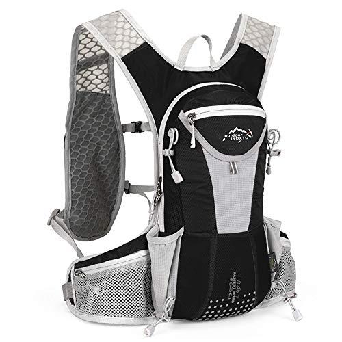UTOBEST ハイドレーションリュック ランニングバッグ サイクリングリュック スポーツバッグ ウォーキング用バッグ マラソン ジョギング 自転車リュック 軽量 防水 通気 10L5色選び (ブラックグレー)