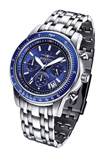 FIREFOX Airliner FFS04-103b blau Chronograph massiv Edelstahl Sicherheitsfaltschließe Herrenuhr Armbanduhr 10 ATM wasserdicht