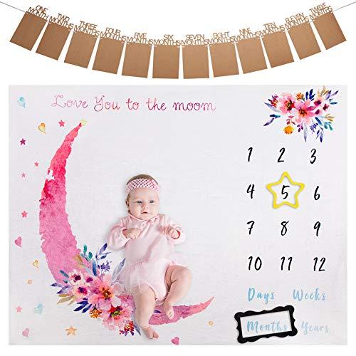Milestone Manta para Bebé, ANSUG Franela Manta Mensual De Hito Fotografía de Fondo con Banner de Foto y Marco para Recién Nacido Regalo Baby Shower - 100 x 130 cm