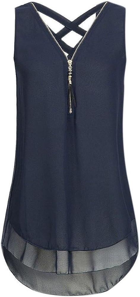 CUCUHAM Women Loose Sleeveless Tank Top Cross Back Hem Layed Zipper V-Neck T Shirts Tops(A-Blue, XXXL)