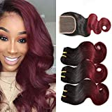 3 Tissage Bresilien Avec Closure Ondule Cheveux Naturel 1b/99j 7A Lace Closure Virgin Hair 100g/pc 10Pouces RICHAIR Body Wave