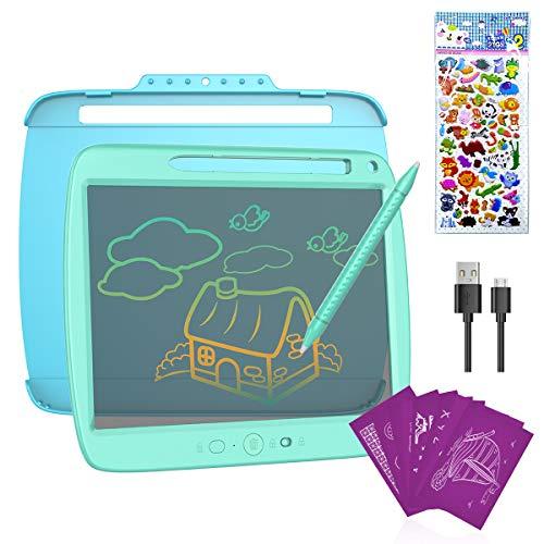 ERAY Tablet de Escritura LCD 9 Pulgada Colorida, Semi-Transparente/ 8 Plantillas Regaladas/Doble Punta del Lápiz/USB Carga/Anti-Golpes/Función de Bloqueo, Tablero de Dibujo para los Niños, Azul