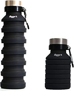 Sport Flow Collapsible Water Bottle with Carabiner - for Travel Outdoor Gym Hiking Biking Commuting Camping Workouts Training - Reusable - BPA Free - Silicon Lightweight - Leak Proof - ECO Friendly