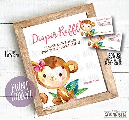 Ced454sy Gift Aap Luier Raffle Teken Meisje Aap Baby Douche Teken BONUS Luier Raffle Tickets Gift
