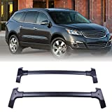 LUJUNTEC Aluminum Roof Mounted Roof Rack Cross Bar Set Fit for 2009-2017 for Chevrolet Traverse Sport Utility 4-Door 3.6L Top Rail Carries Luggage Carrier