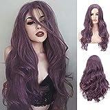 Peluca morada Largas mujer violetas Peluca rizada Disfraces Cosplay Halloween Peluca ondulada resistente (violeta)