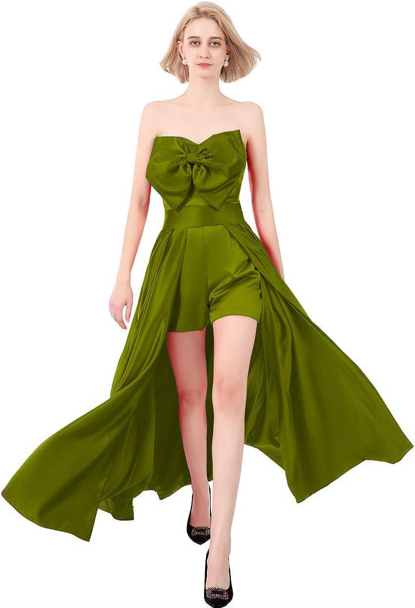 Yuki Isabelle Women's Short Jumpsuit Prom Dress with Detachable Waist Cape Hi-lo Evening Gowns