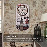 AUNMAS Europeo Retro Reloj de Pared Rectangular con Londres Reloj Patrón Bar Tienda de Decoración Reloj Antiguo Montado En La Pared Home Living Room Decor