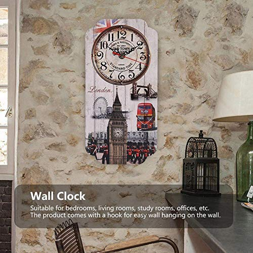AUNMAS Europeo Retro Reloj de Pared Rectangular con Londres Reloj Patrón Bar Tienda de Decoración Reloj Antiguo Montado En La Pared Home Living Room Decor