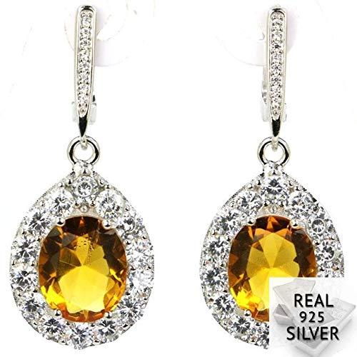 ESIVEL 9.1g 925 Pendientes de plata maciza de lujo con citrino dorado para el día de la madre 41x16mm