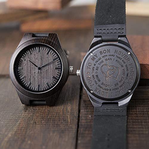 LIGUANGWEN Regalos Grabado De Madera Hombres De Familia Reloj Personalizado Un Gran Regalo For Los Hombres Envío De La Gota Relojes De Los Padrinos