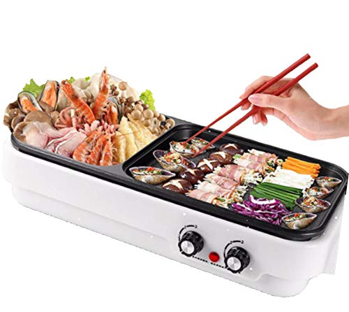 Portable Electric Grill, Electric Barbecue Grill Indoor Hot Pot Chafing Dish, Large Capacity Household Multifunctional Non-Stick Pan Electric Cooker with Adjustments,White