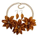 MKmd-s Exquisito Collar de Flores, Conjunto de aretes, Naranja Natural Fresca