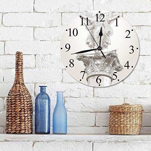 12 Zoll Wall Clock Modern Lautlos Wanduhr Skulpturen, Engel griechische Figur Muse Statue auf neoklassizistischen Säulen Mythologie alte Relikt dr,für Wohn- /Schlaf-Kinderzimmer Büro Cafe Restaurant
