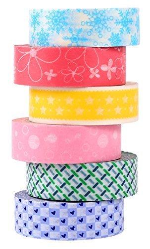 ST Washi Tape-Nastro decorative di carta Washi,15mm x 9,14m Ciascuno,Set di 6