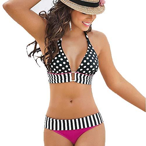 Zegeey Damen Bikini Sets Badeanzug Hals HäNgen Bademode Zweiteilige Push Up Schulterfrei Rueckenfrei Strandkleidung Mit Punkt Gestreift Streifen(Hot Pink,36 DE/S CN)