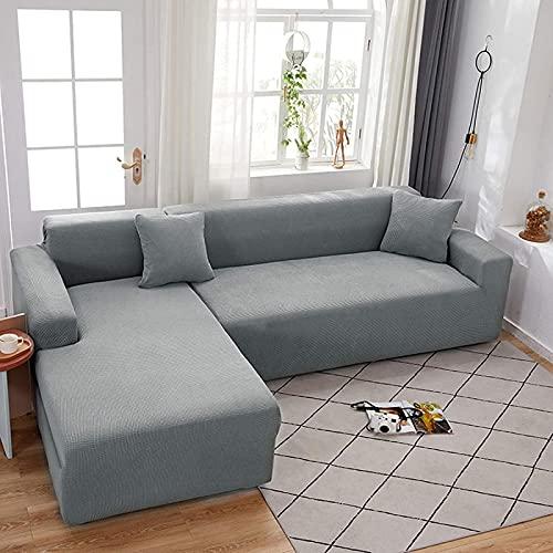 Fundas de sofá seccionales, 2 fundas de sofá en forma de L, protector de muebles con tejido jacquard elástico de punto, color gris claro en forma de L 3+3 asientos (75''-91''+ 75''-91'')