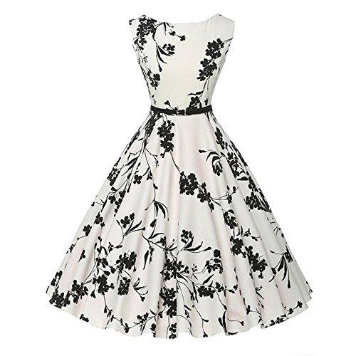 YWLINK Damen Elegant Vintage 50er Rockabilly Swing Kleider Retro Stil Hohe Taille Party Cocktailkleid Polka Dots ÄRmellos O Kragen Faltenrock(S,D Weiß)