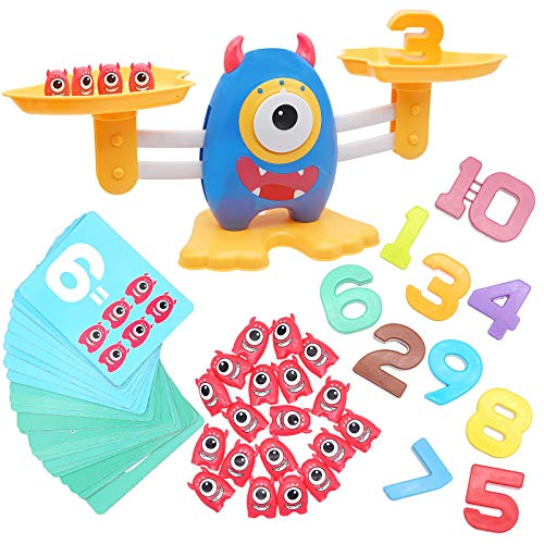 KANKOJO Monster Balance Cool Math Games for Age 3-5 Toddler Number Counting Educational Game with Flashcards Kids Learning Montessori Toys